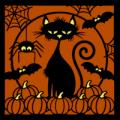 Cat with Pumpkins 02
