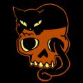 Emily the Strange Cat on Skull