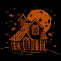 Halloween House with Moon