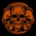 Three Swirly Skulls