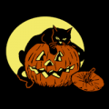 Cat Guarding Pumpkin 01