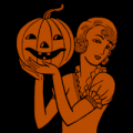 Retro Woman with Pumpkin