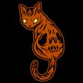 Demon Cat with Skull