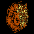 Lion Half Floral