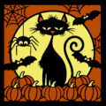 Cat with Pumpkins 01