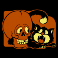 Vintage Cat and Skull 01