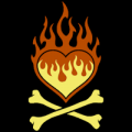 Flaming Heart Crossbones 03
