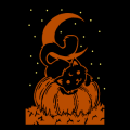 Cat Laying on Pumpkin