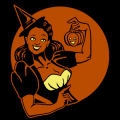 Vintage Smiling Witch with Pumpkin 02