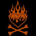 Flaming Heart Crossbones 02
